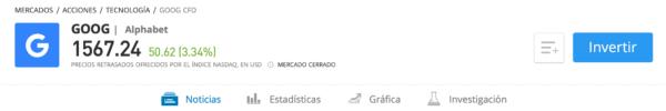Comprar acciones Google eToro