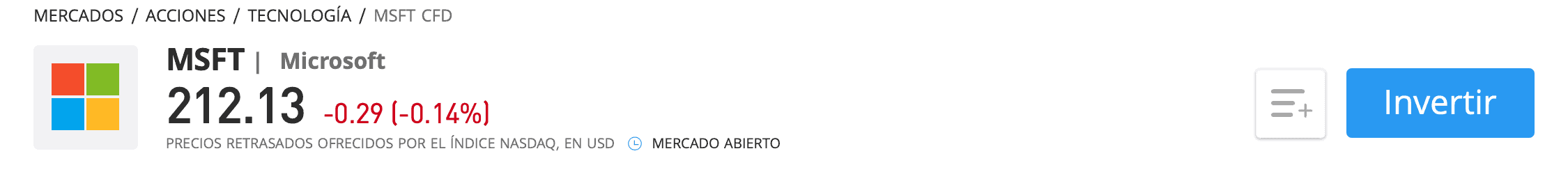 Comprar acciones Microsoft eToro