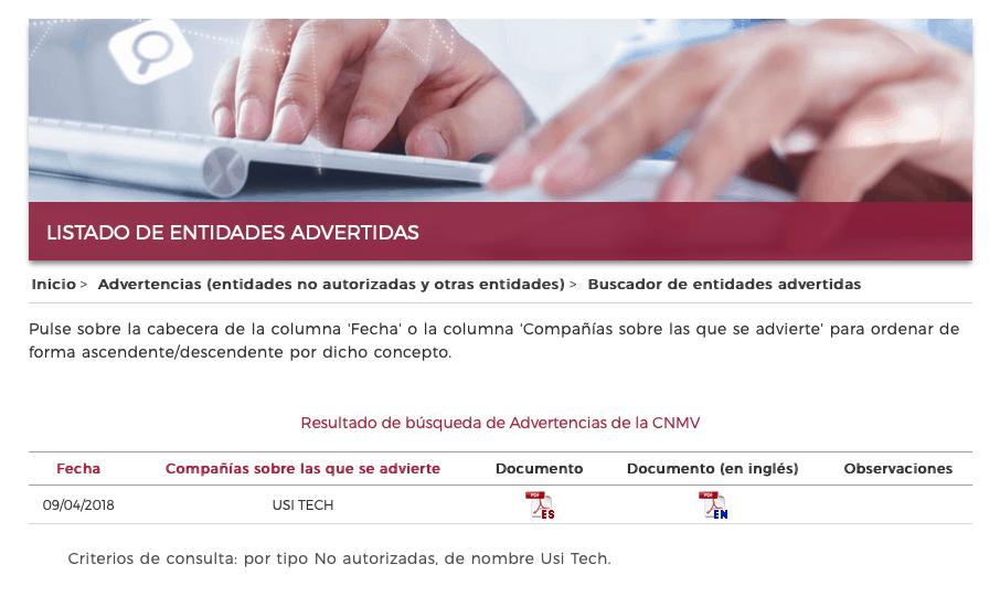 Usi Tech CNMV